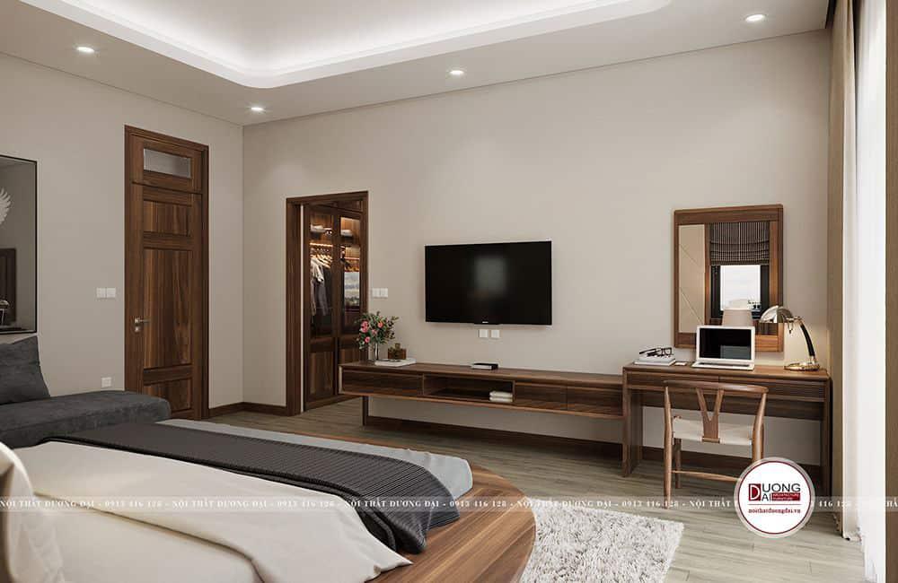 Nội thất gỗ tự nhiên mang đến nét đẹp nghệ thuật cho phòng ngủ
