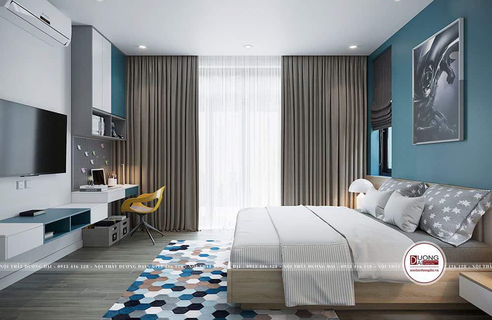 Thiết kế phòng ngủ với màu xanh dương tươi trẻ