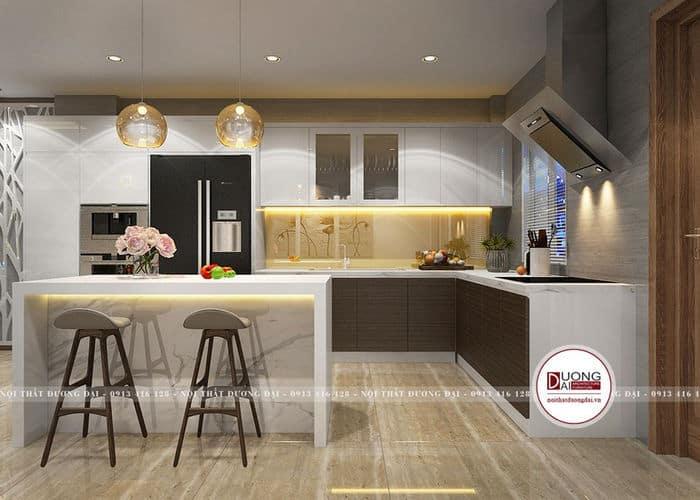 Bếp có thiết kế bàn đảo kết hợp làm bàn ăn cho gia đình