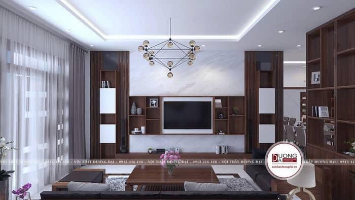 Thiết kế phòng khách nhà vuông đầy ấn tượng và hiện đại