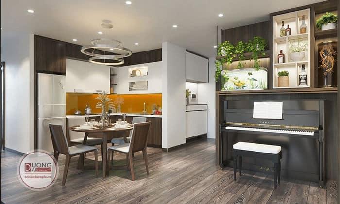 Thiết kế bếp nhỏ xinh ấm cúng nhìn ra đàn piano đầy lãng mạn