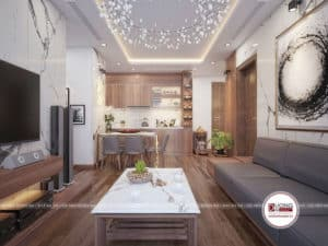Thiết kế bếp hiện đại với không gian bếp- bàn ăn và phòng khách hài hòa.