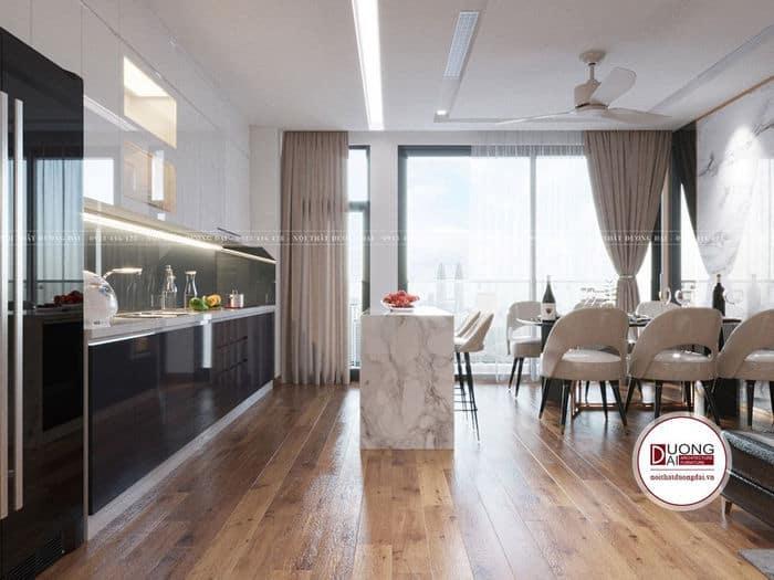 Không gian bàn ăn và tủ bếp cạnh cửa kính lãng mạn và thoáng mát