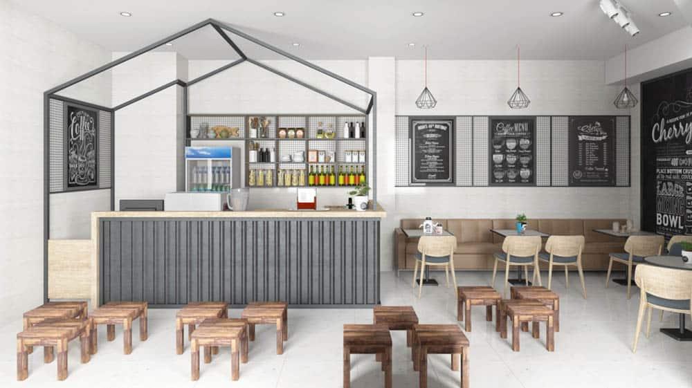 Thiết kế quán cafe nhỏ 20m2 với nội thất nhỏ gọn
