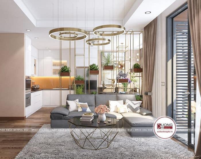 Thiết kế phòng khách với cây xanh mát và không gian mở