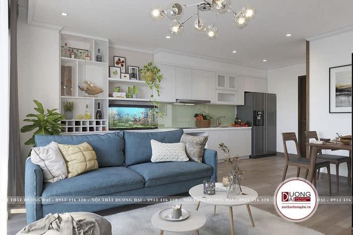 Thiết kế sofa nỉ màu xanh dương và nội thất màu trắng đậm nét Bắc Âu