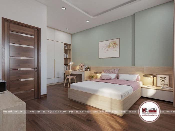 Phòng ngủ đơn giản cho nữ với tông màu xanh nhẹ nhàng