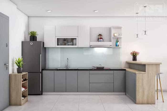 Tủ bếp nhỏ gọn và đơn giản cho căn hộ chung cư
