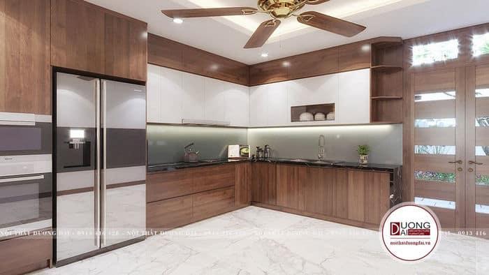 Tủ bếp với chất liệu gỗ sồi sơn màu óc chó đẹp cuốn hút