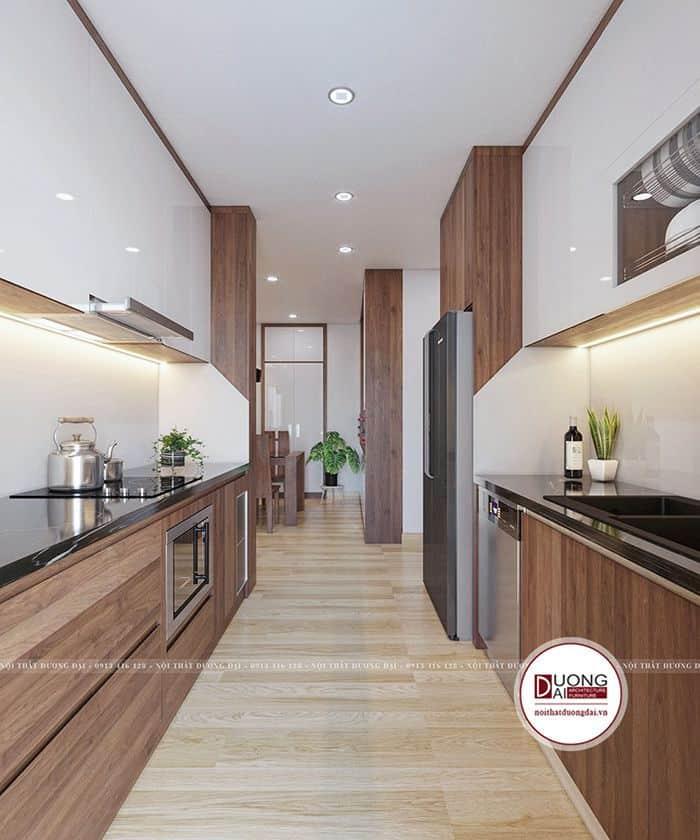 Tủ bếp hiện đại với 2 dãy tủ chạy song song có nhiều ngăn chứa đồ