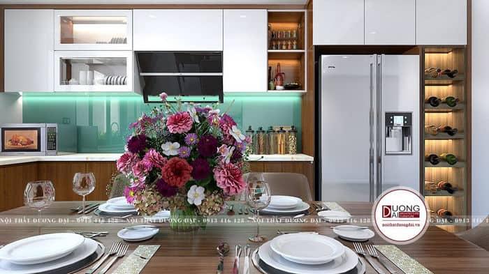 Không gian bếp hiện đại với tủ bếp HDF phủ Acrylic trắng