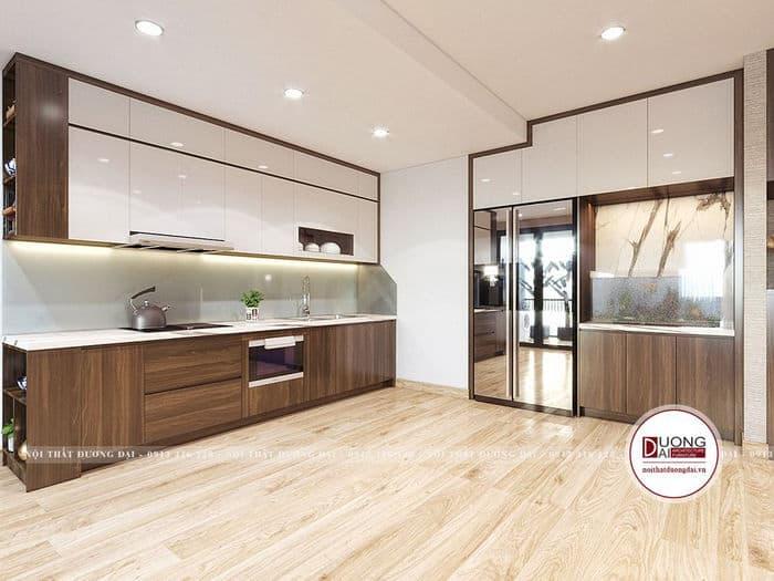 Tủ bếp âm tường mang đến sự rộng rãi và độc đáo cho căn phòng