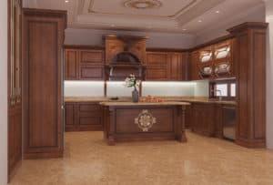 Tủ bếp tân cổ điển siêu đẹp và ấn tượng