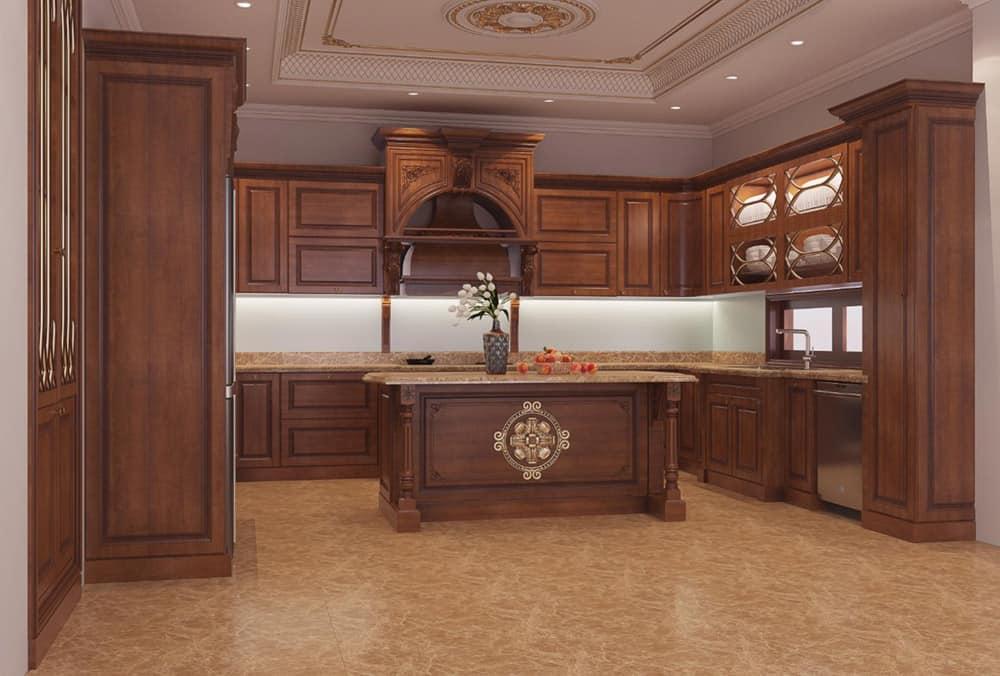 Tủ bếp tân cổ điển siêu đẹp với đảo bếp đặt chính giữa