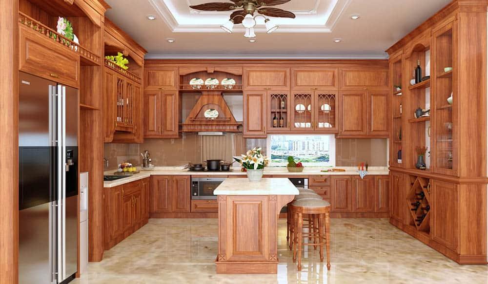 Thiết kế phòng bếp siêu đẳng cấp với gỗ hương sang trọng