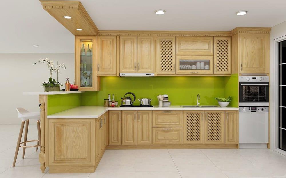 Tủ bếp gỗ tự nhiên có màu sắc sáng rất hiện đại và trang nhã