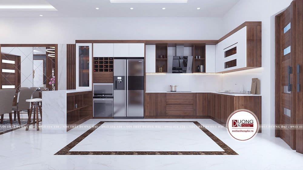 Mẫu tủ đầy ấn tượng kết hợp đảo bếp với cánh phủ Acrylic