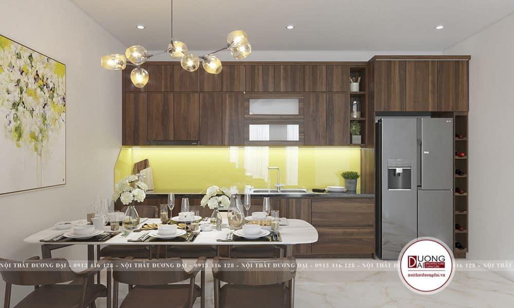 Tủ bếp gỗ siêu sang trọng với phong cách hiện đại