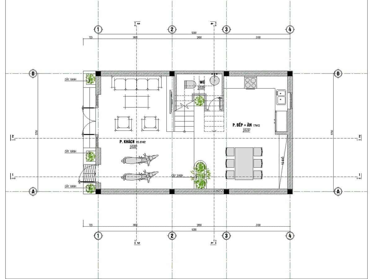 Mẫu thiết kế nhà 6x10m 3 tầng