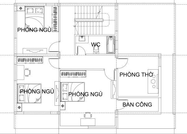 Mẫu nhà 2 tầng mái thái 90m2