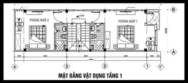 thiết kế nhà 3 tầng 4.5 x15m