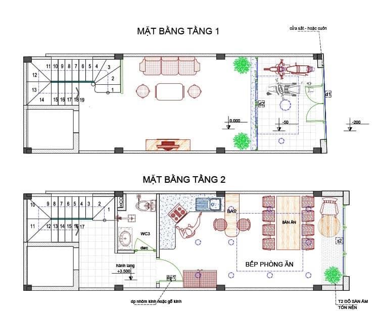 thiết kế nhà 4x11 có thang máy