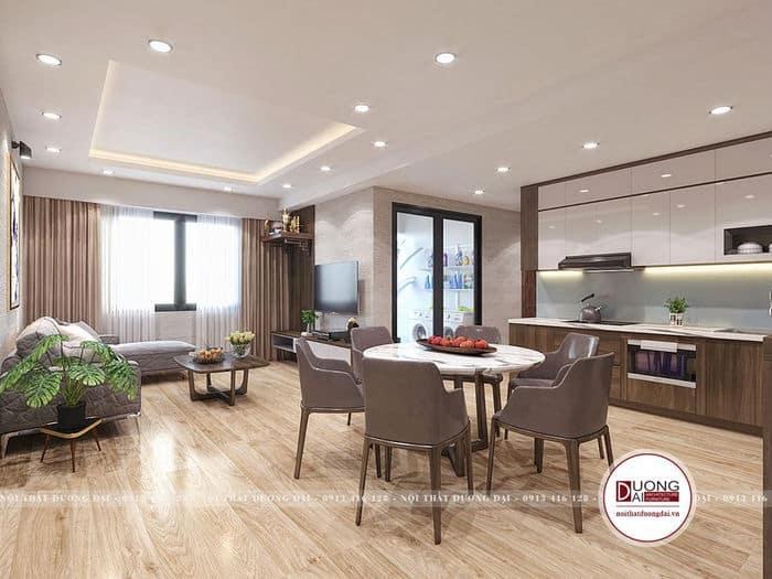 Mẫu thiết kế bàn ăn tròn đặt giữa chung cư nhỏ đầy sang trọng