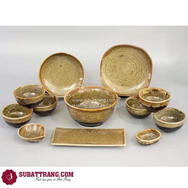 Bộ Đồ Ăn Men Gấm Vàng Bát Tràng - SBT60277