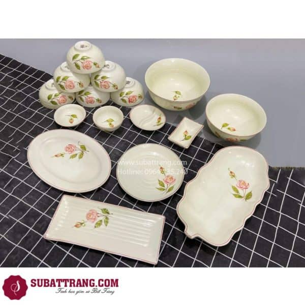 Bộ Đồ Ăn Men Kem Hoa Hồng Bát Tràng - SBT60281