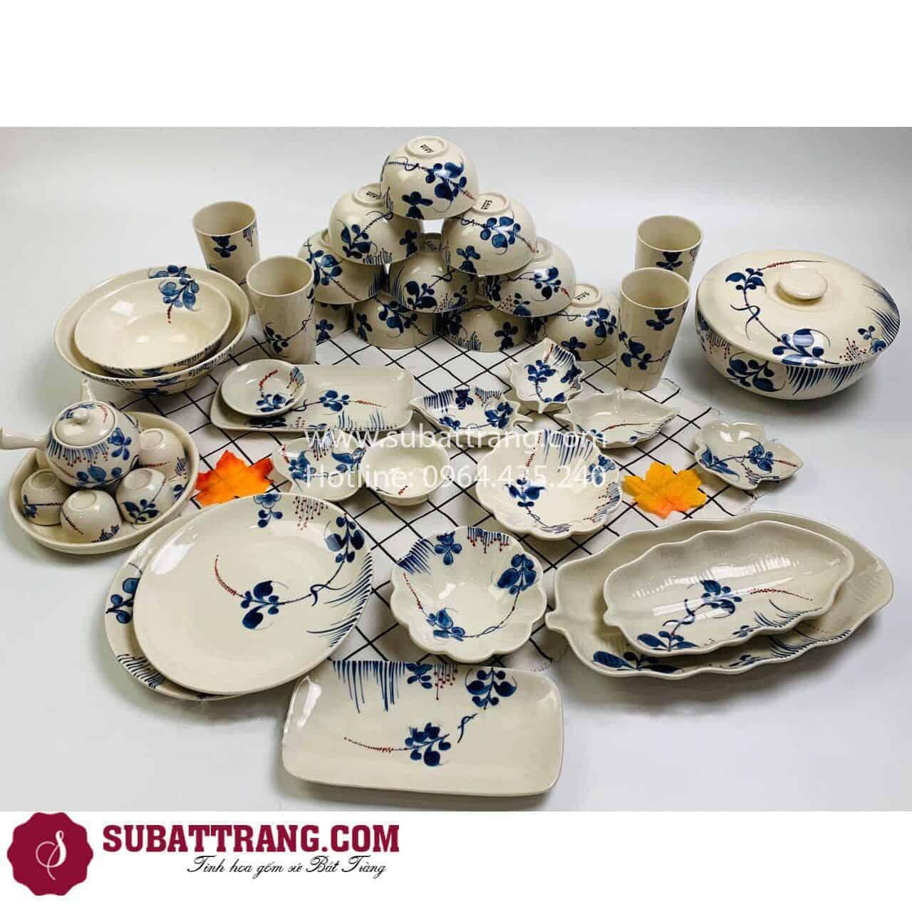Bộ Đồ Ăn Men Mát Hoa Dây Bát Tràng - 60275