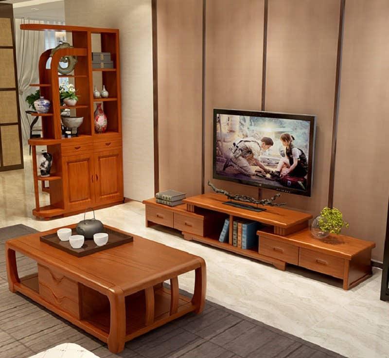Thiết kế kệ gỗ gõ hiện đại với kiểu dáng nhỏ gọn cho chung cư