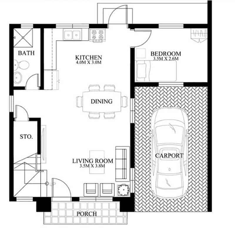 thiết kế nhà 2 tầng 7x7m