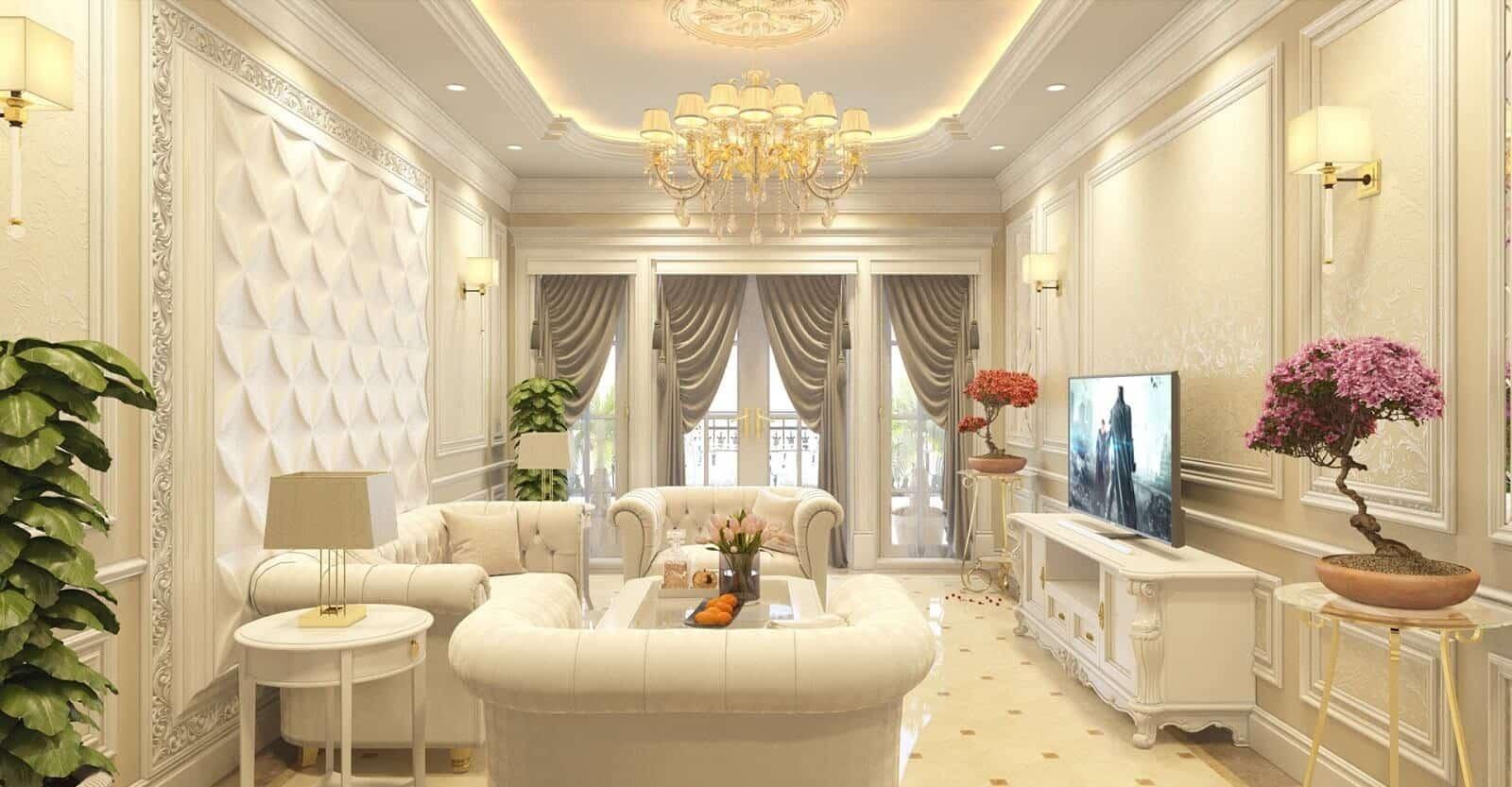Phong cách nội thất tân cổ điển với màu vàng nhạt trang nhã sang trọng