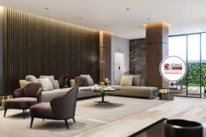 Thiết kế phòng khách thoải mái với bộ sofa chữ L