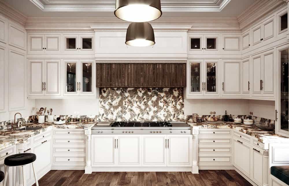 Phòng bếp châu Âu với chất liệu gỗ tự nhiên