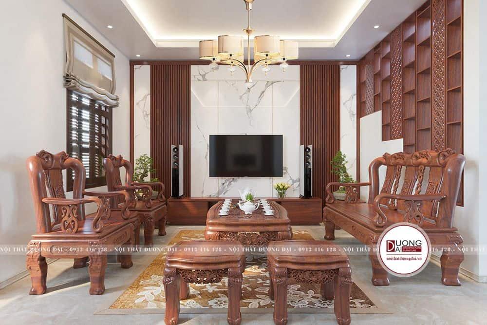 Thiết kế phòng khách sang trọng với bộ sofa hoa văn tinh xảo