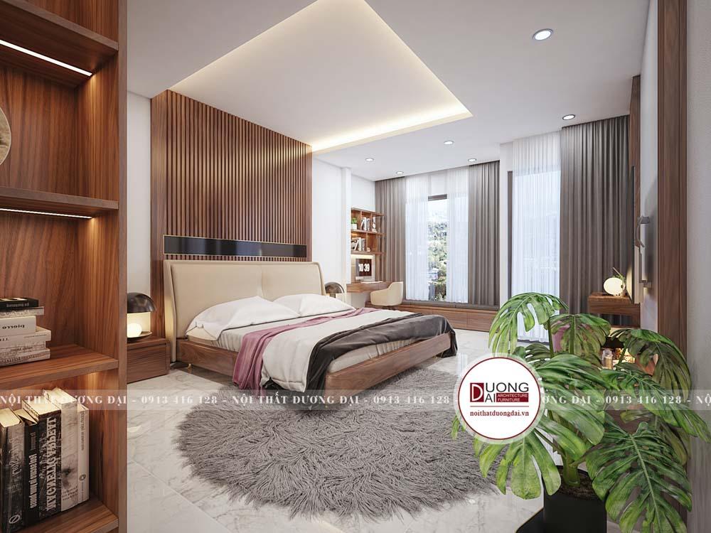 Nội thất phòng ngủ gỗ óc chó đẹp với thảm cao cấp