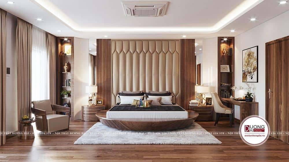 Thiết kế phòng ngủ đẳng cấp với giường ngủ tròn
