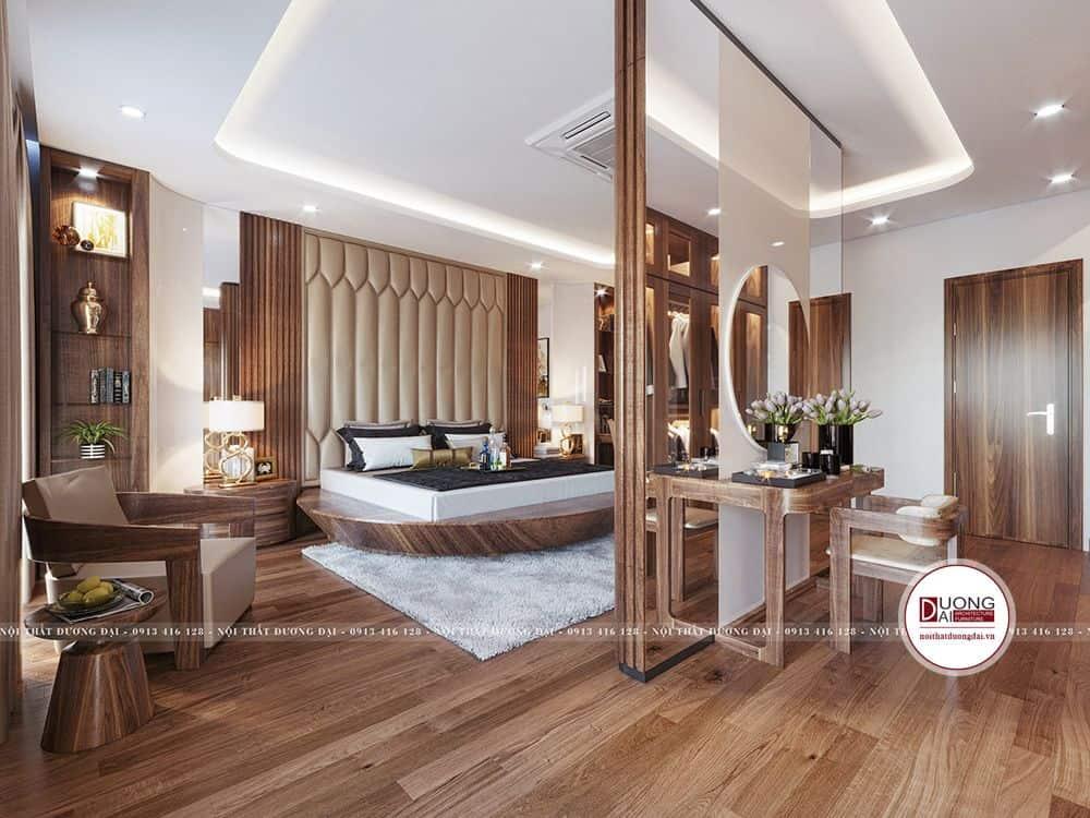 Không gian nghỉ ngơi tiện nghi với màu nâu gỗ óc chó tinh tế