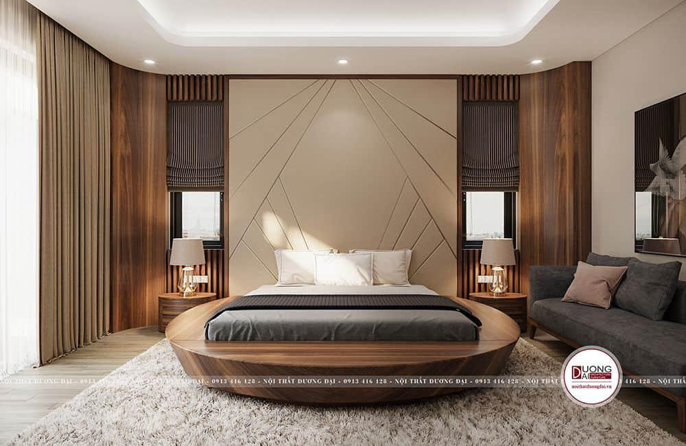 Phòng ngủ ấn tượng với chiếc giường gỗ tròn