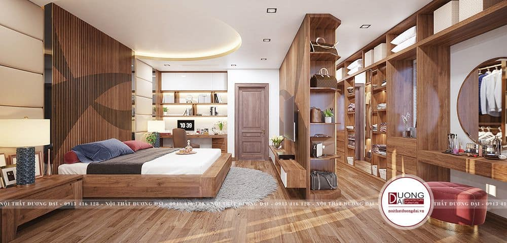 Phòng ngủ biệt thự sử dụng gỗ óc chó đẳng cấp