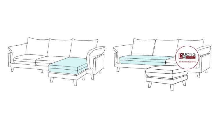 Mẫu thiết kế sofa đa năng, có thể làm sofa văng, sofa góc tùy theo sở thích của gia đình.
