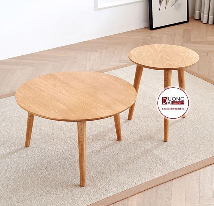 Mẫu bàn trà tròn bằng gỗ tự nhiên