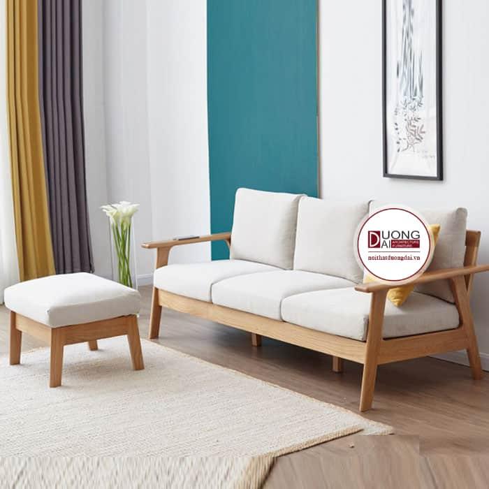 Sofa chữ I thanh nhã và tinh khiết với đệm màu trắng