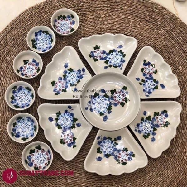 Set Đĩa Hoa Vẽ Tay Bát Tràng - SBT60250
