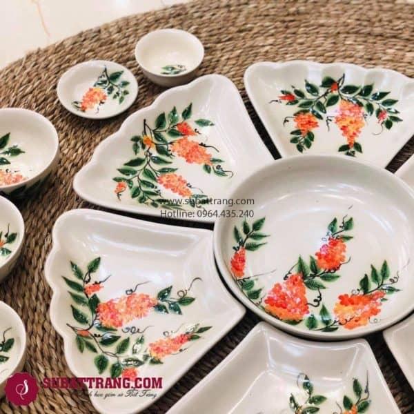 Set Đĩa Hoa Vẽ Tay Bát Tràng - SBT60252