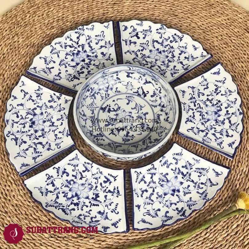 Set Đĩa Vẽ Hoa Dây Bát Tràng - SBT60271