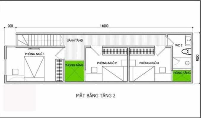 thiết kế nhà 2 tầng 4x14m