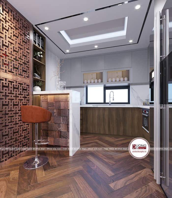 Tủ bếp có cửa sổ sẽ giúp cho phòng bếp thông thoáng hơn