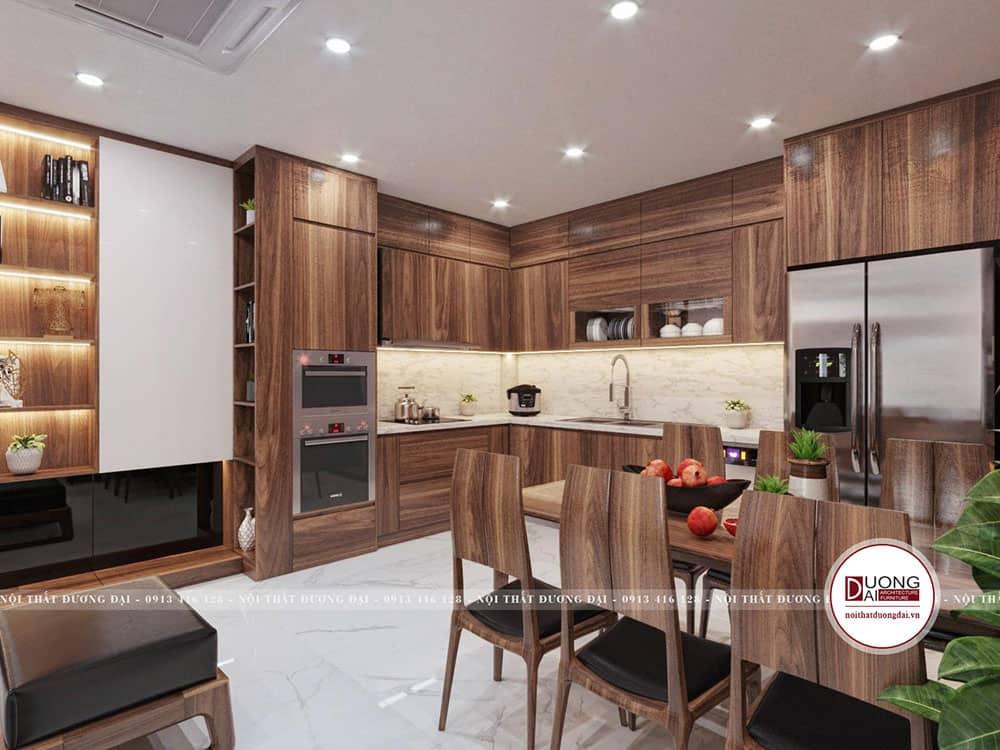 Mẫu tủ bếp bằng gỗ tự nhiên sang trọng và uy nghi